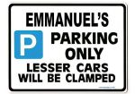 EMMANUEL'S Personalised Gift |Unique Present for Him | Parking Sign - Size Large - Metal faced